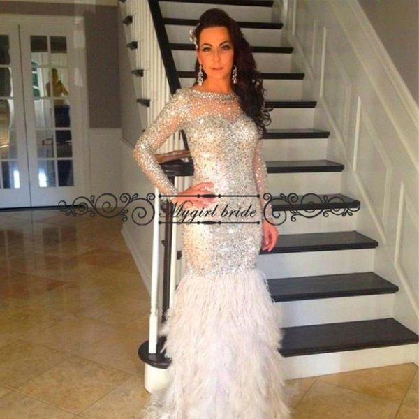 Feather Prom Dress With Long Sleeves Mermaid Rhinestone Beaded Prom ...