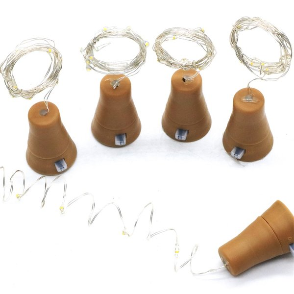 DIY Micro Copper Wire Solar Led String Light 1M 10Led Wine Bottle Cork Stopper Solar Fairy String Garland for Christmas