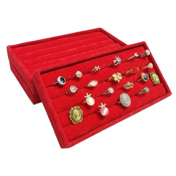3Pcs Red Velvet Jewelry Ring Display Organizer Storage Case Velvet Earring Stud Cufflinks Ring Storage Box Tray Ring Bar Tray 11*22*3 cm