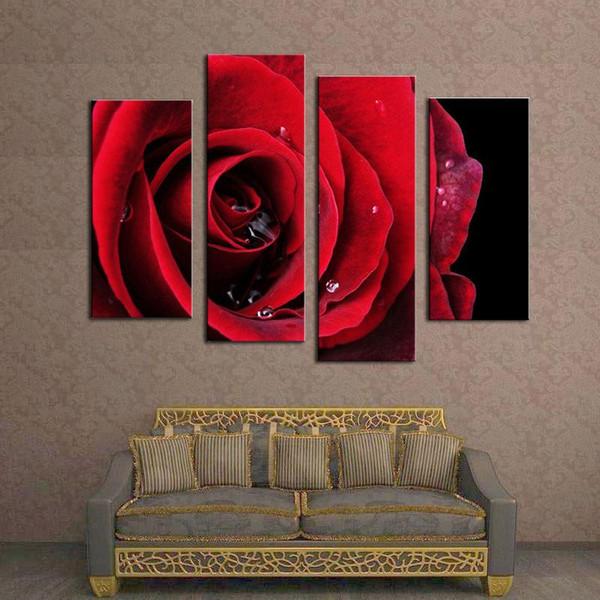 4 photo combinaison de fleurs peintures rouge rose moderne peinture murale toile art mural image peinture sans cadre peinture