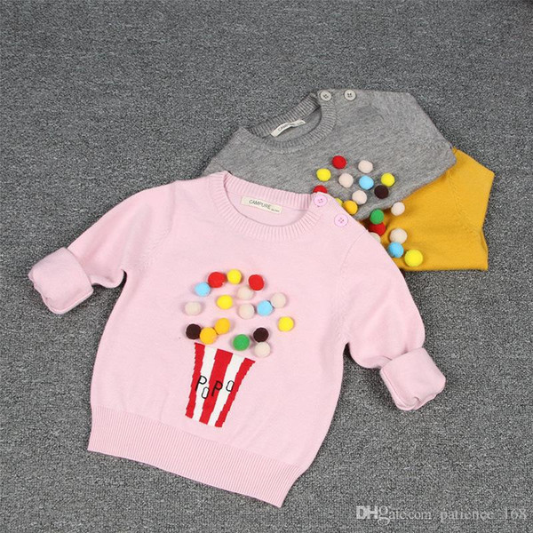 3 color Hot selling INS style candy color pullover sweater 100% cotton solid color spring autumn warm Cotton knitted sweater free shipping