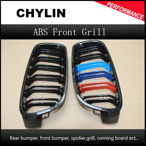 Car Style One Pair Front Gloss Black M-color Grilles for BMW F30 F35 2012-2015