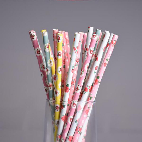 200pcs/lot 10 Colors Retro Flower Paper Straws for birthday wedding decorative party supplies Creative Drinking Straws
