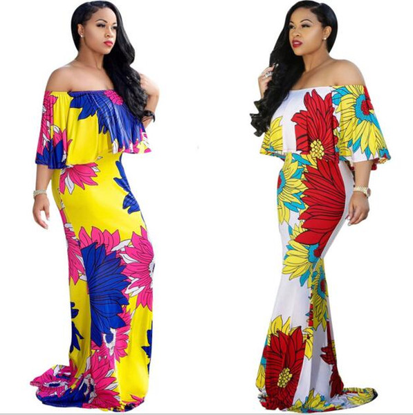 Bohemian Long Casual Summer Dresses Cheap Plus Size Printed Dresses Halter Neck Sexy Backless Split Fishtail mopping skirt