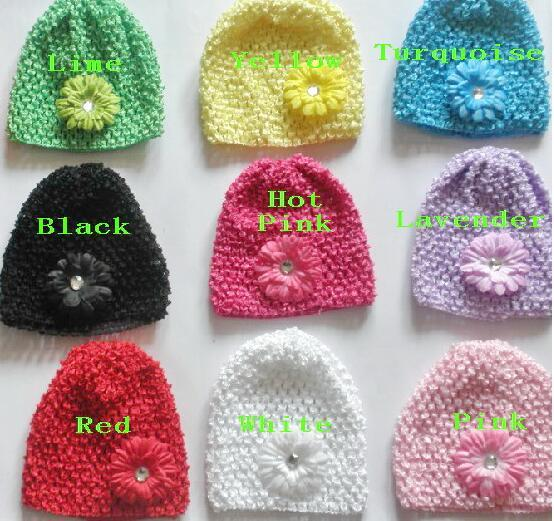"""50pcs baby waffle crochet hats hair flowers clips sunny soft toddler beanie with 2"""" mini daisy flower stretch caps feshion hot sell MZ9112"""