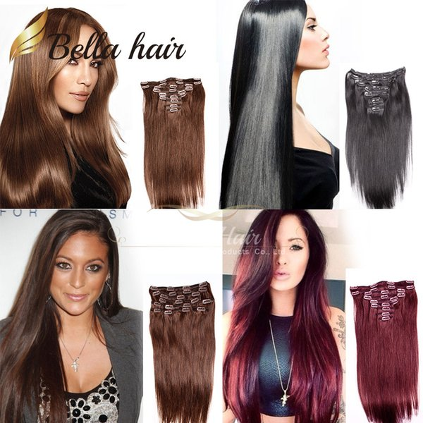 "best selling Clip In on Hair Extensions Brazilian Virgin Human Hair Extensions 100g set, 20"" #1#2#4#33, Silky Straight Hair Weaves 8A grade Bellahair"