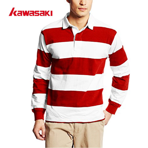 c9a46f920 Wholesale- Custom Kawasaki Brabd POLO Stripes Style Long Sleeves Rugby  Jerseys Mens Polyester Breathable Sports