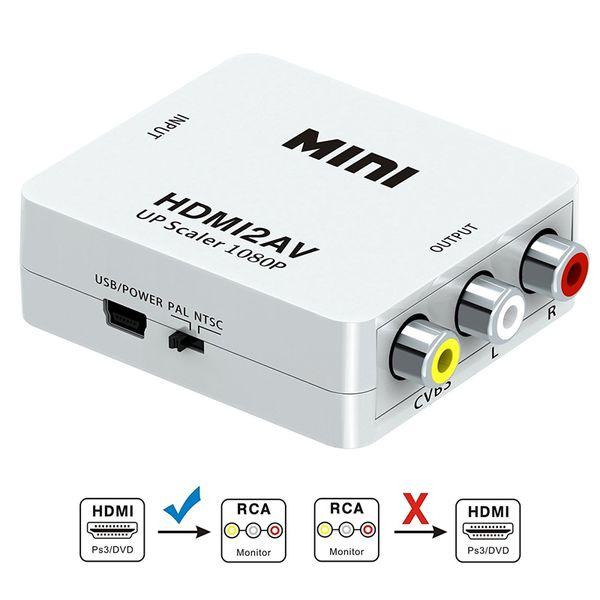 RCA, HDMI AV, 1080P HDMI AV 3RCA CVB'ler Kompozit Video Ses Dönüştürücü Adaptör Desteği USB Şarj Kablosu ile PAL / NTSC