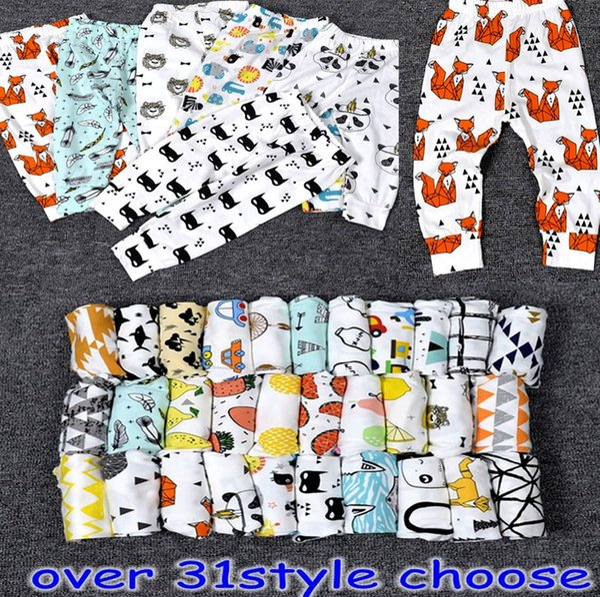 top popular 2016 kids INS pp pants fashion baby toddlers boys girls animal fox tent wheels geometric figure fruit lemon feather pants trousers Leggings 2020