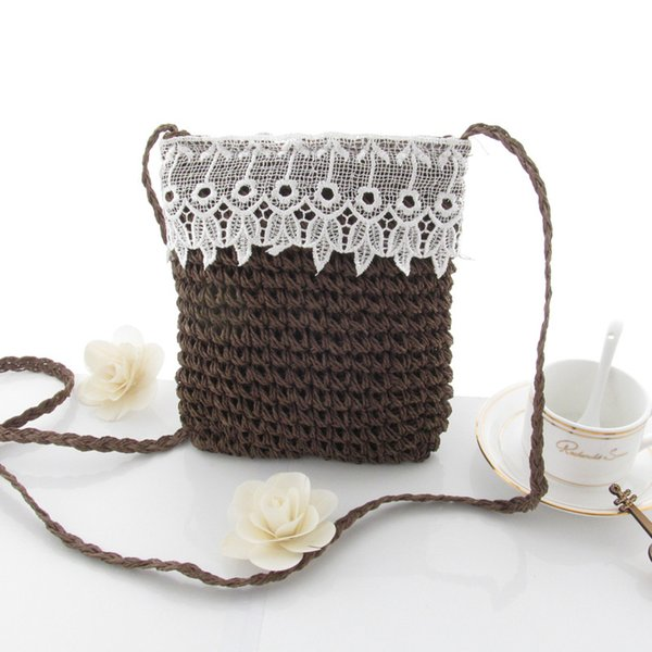 Lace Straw bag Knitted messenger bag Preppy Style Women casual hollow shoulder bags Crossbody Beach bags small linen purse