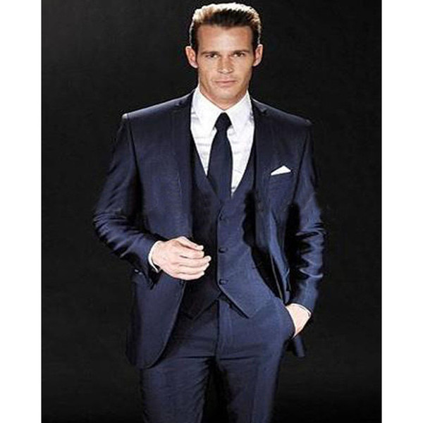2017 Smoking New Excited Groom Tuxedos Wedding Groomsman Men Suits Bridegroom Suit Jacket Blazers Sets(jacket+pants+tie+vest)