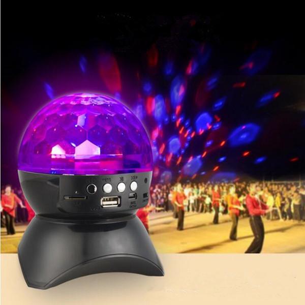 Colorfull LED Bluetooth Speaker Rotating Magic Ball Stage Light Mini Stereo Radio Square Dance Speaker for KTV Club Disco DJ Party