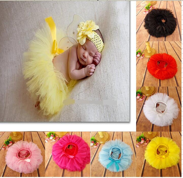 15% off! 6 colors 2pcs/Set Baby Girls Tutu Skirt + Headband set Infant bubble Dance ball Gown Ballet Skirt Newborn Photography props BN