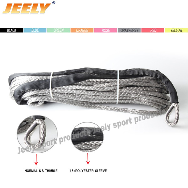 Wholesale-Free Shipping 3/8'' x 40' Synthetic Fiber UHMWPE Towing Winch Cord with thimble for ATV/UTV