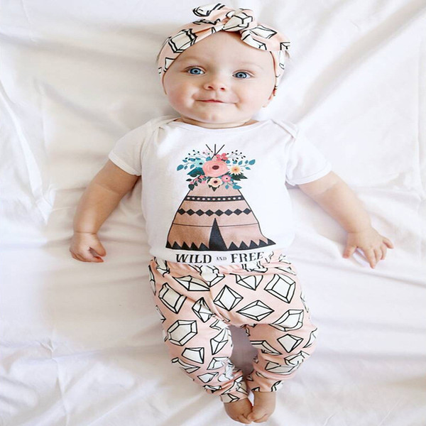 INS Baby Sets Clothing Fashion Kids Girls Florals Short Sleeve One-piece Rompers+Pants 2pcs Set Children Outfits Clothes A08