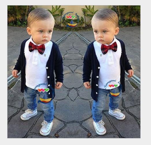 Yakışıklı Erkek Gentleman Giyim Setleri 2016 Yeni Bahar Sonbahar Çocuk Hırka Coat + T-shirt + Papyon + Kot 4 adet Set Çocuklar Suit Çocuk Kıyafetler 2-7 T
