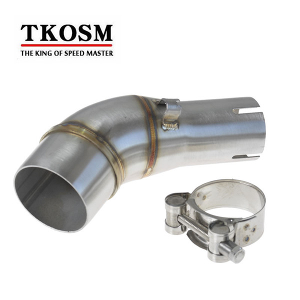 TKOSM Motorcycle Exhaust Middle Pipe Stainless Steel Muffler Link Pipe Section Adapter Pipe for Kawasaki Ninja 250SL Z250 SL