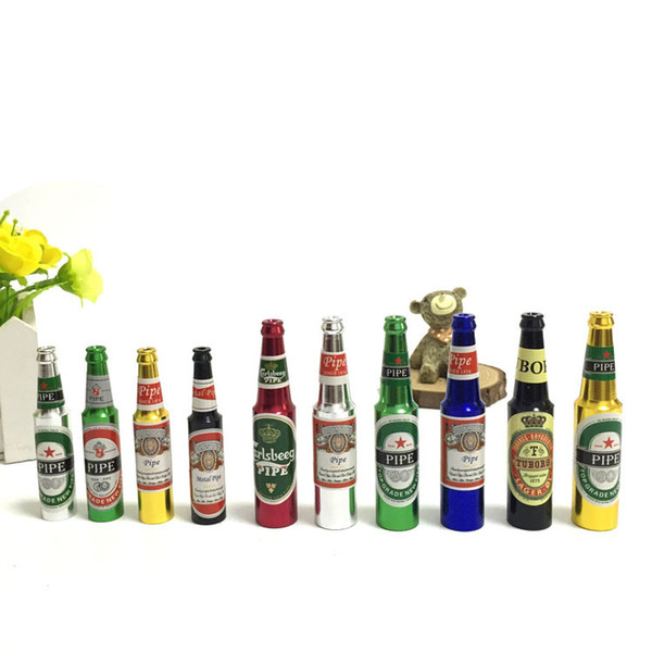 2016 Creative Portable Beer Bottles Shaped Rasta Tobacco Pipe Metal Aluminum Smoking Pipes For Good Gift Accessory Free Shipping Wholesale
