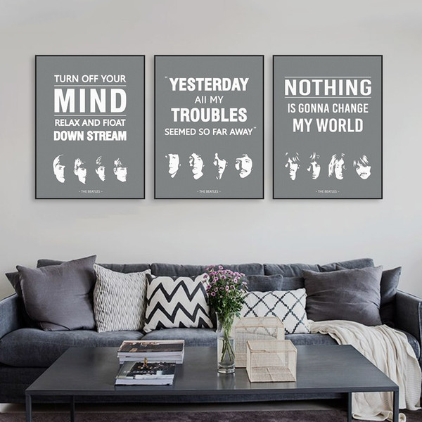 Triptych Original Vintage Pop Beatles Music Quote Canvas A4 Art Print  Poster Wall Picture Living Room