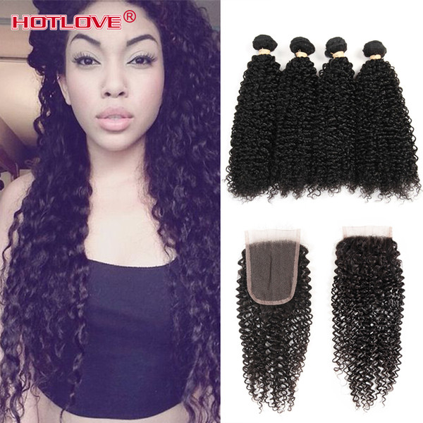 Peruvian afro Kinky Curly Hair Weave 4 Bundles With Closure Top Human Hair Bundles Lace Closure 5pcs/lot Deals Weft Hotlove Virgin Hair