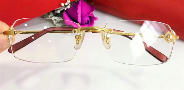 best selling Fahion brand eye glasses Prescription 280088 rimless 18Kgold frame optical glasses clear lens simple business style for men