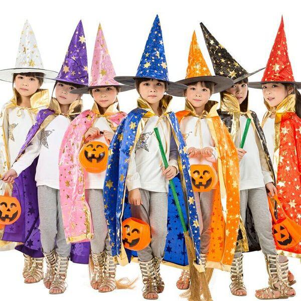 Niños disfraces de Halloween Witch Wizard Canto Capa de bata y Sombrero Cap Stars Fancy 7 Color para niños Niños Chicas envío gratis