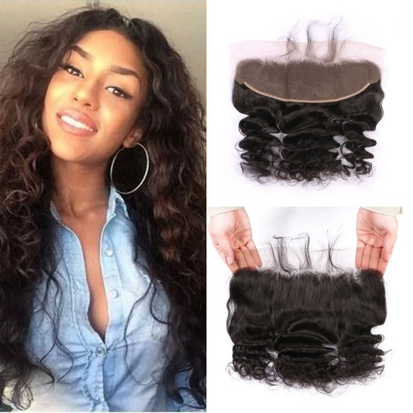 Malaysian Human Hair Loose Wave 13x4 Lace Frontal Bleached Knots with Baby Hair Middle Free 3 Part Cheap Closures FDSHINE