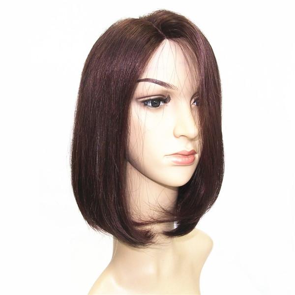 Бразильские девственные человеческие волосы боб парик шелковистой Прямой боб U-часть кружева передний парик без клея боб парик 2 / 99J