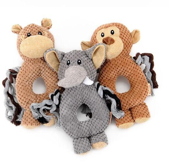 Pet Toys Plush High Quality Cute Monkey Elephant Horse Shape Voice Puzzle Toy Circle Ring Training 11hy F R