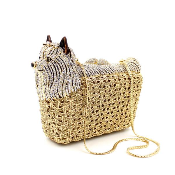 Animal Shape Luxury Party Crystal Bags Women Diamond Evening Clutches Purse Wedding Prom Clutch Bag Ladies Small Dog Handbags