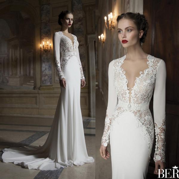 2018 Berta Mermaid Long Sleeves Wedding Dresses Sheer V Neck Lace Applique Court Train Vintage Bridal Gowns Hollow Back Wedding Dress