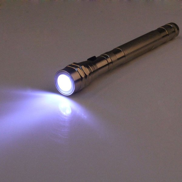 24pcs/lot Portable 3 LED Telescopic Flexible Extensible Led Flashlight Torch Flexible Magnetic Head Pick Up Tool Flash Light Camping Lamp