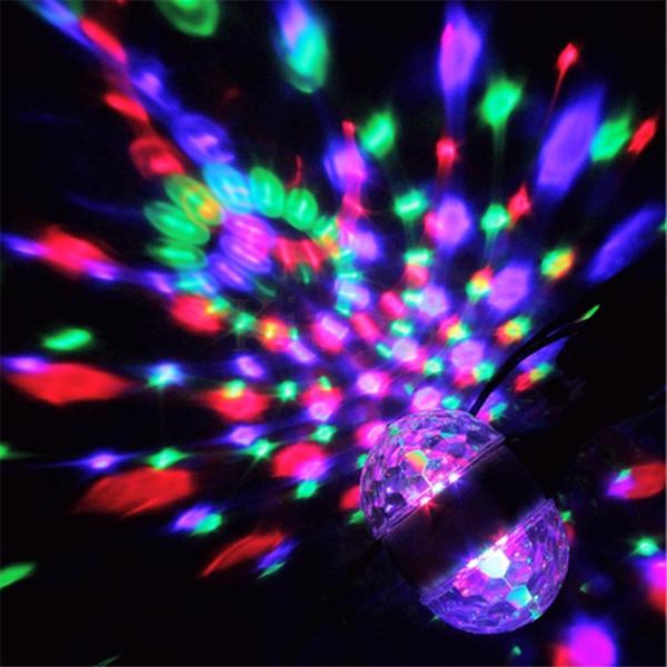 E27 Base AC85V-260V Colorful Auto Rotating RGB Crystal Stage Light Magic Double Balls Laser light DJ Party Disco Effect Bulb