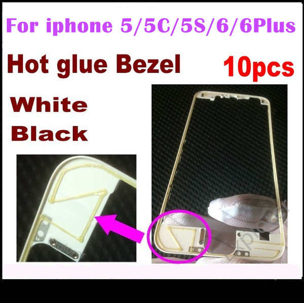 10pcs Front Bezel with hot glue Middle Frame for iPhone 5s 5c 5G 6 4.7 6 Plus 5.5 inch Black white