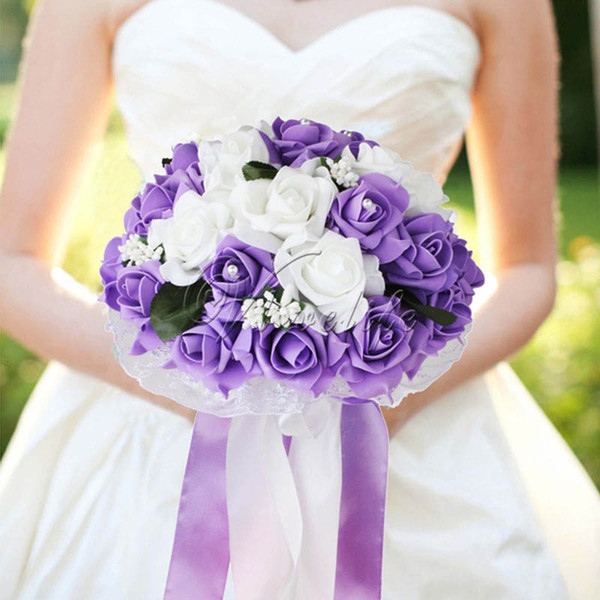Foam Rose Wedding Bouquet Lace Edging Leaves Stamen Silk Ribbon Diamante Pearls Holding Flower Decoration