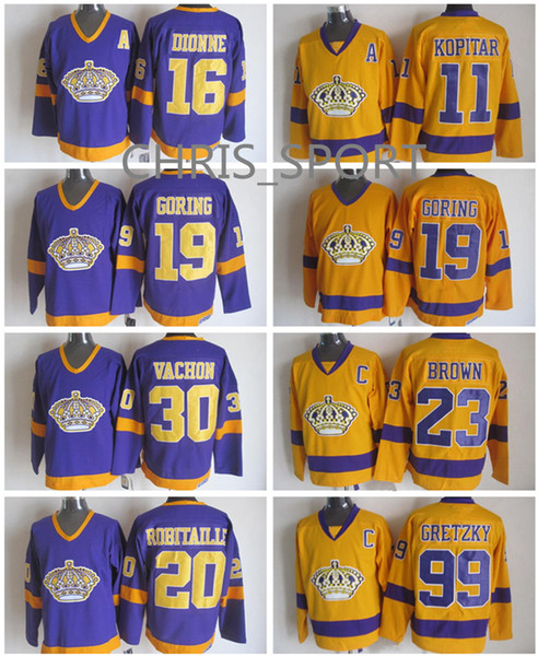 wholesale dealer c179a b8779 los angeles kings blank yellow throwback with purple ccm jersey