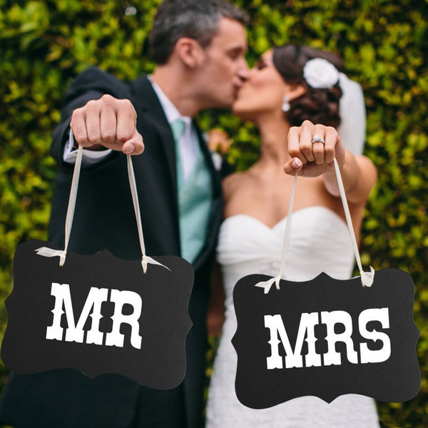 2pcs/set DIY Mr. Mrs. Paper Board + Ribbon Sign Photo Booth Props Wedding decoration Party Favor WA1300