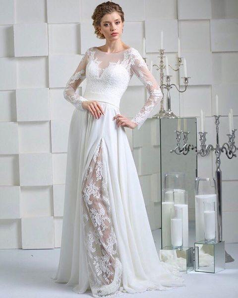 Scoop Neckline Milla Nova A Line Wedding Dress Long Sleeve abiti da sposa Sheer Top Split Front Chiffon Beach Bridal Gowns