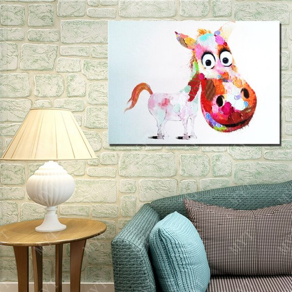 Chinese Factory Price Hand Made Abstract Horse Oil Painting On Canvas Animal Cartoon Oil Painting Living Room Decor Picture