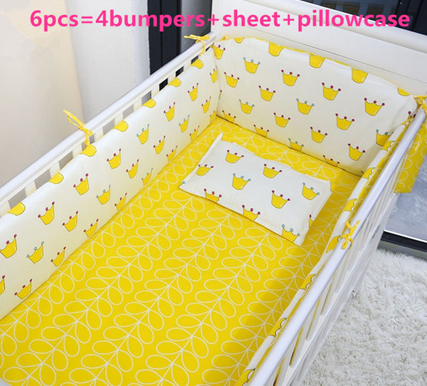 Promotion! 6PCS Baby Bedding Set Cradle Kits in Crib Cot Bedding Set Cotton,include(4bumpers+sheet+pillowcase)