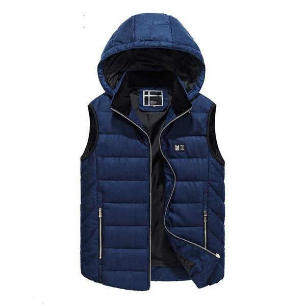 Casual Vests Mens Sleeveless Jacket Waistcoat Men Outerwears Hooded Man Coats Stylish Brand Autumn Winter Hood Warm Vest VT-197