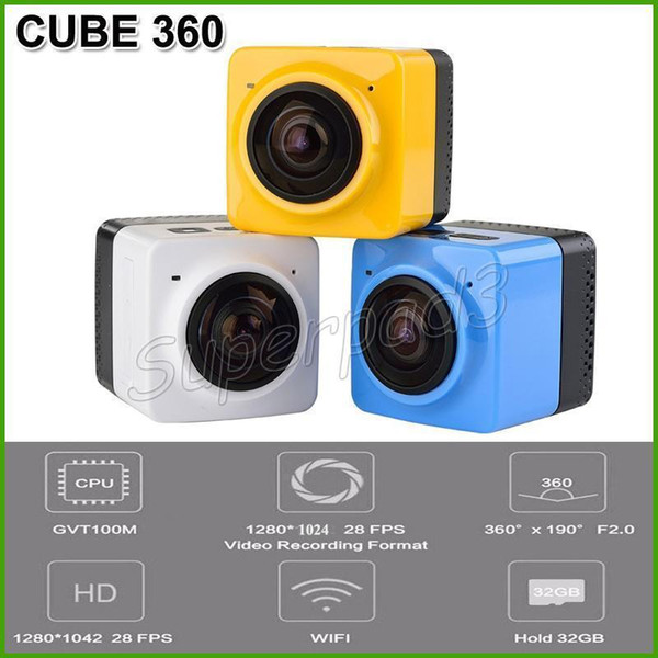 Mini Sport Camera CUBE 360 720P 360 Degree Panoramic VR Camera Build-in WiFi 1280*1024 28fps H.264 Action Camera Free Shipping DHL