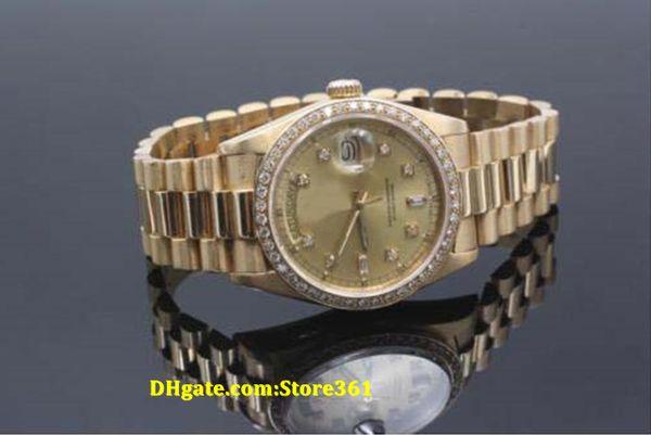 Christmas gift swiss Luxury watches top brand Automatic 18038 President 18K Yellow Gold Diamond Dial Diamond Bezel