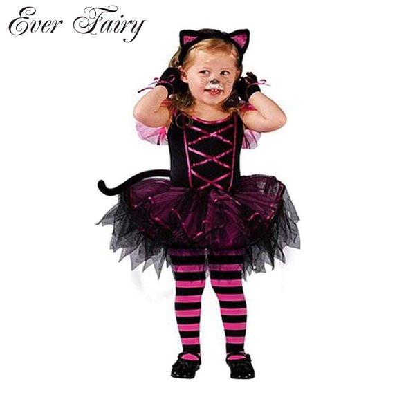 2016 Hot Halloween Costumes For Baby Girl Tutu Dress +Headdress Cheshire Cat Girl Prom Animal Cosplay Apparel Kids Girl Clothes