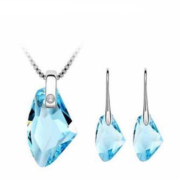 Women Fashion Jewelry Sets Crystal from Swarovski Elements White Gold Plated Necklace Earring Set Long Water Drop Earrings Pendants 243