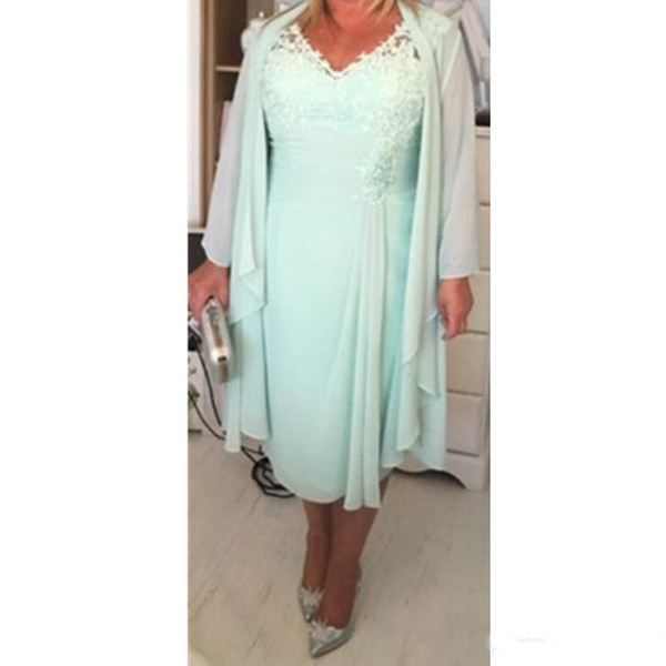 Plus Size Mother' Dresses Mint Green Chiffon V Neck Applique Lace Long Sleeves Jacket Tea Length Formal Evening Gowns Casual Dress 2019