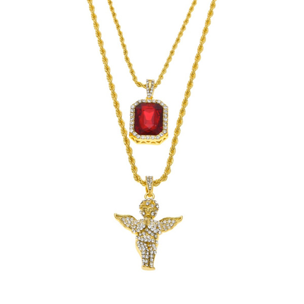 best selling Mens Iced Out Ruby Jewelry Necklaces Set Brand Micro Ruby Angel esus Wing Pendant Hip Hop Necklace Male Wholesale