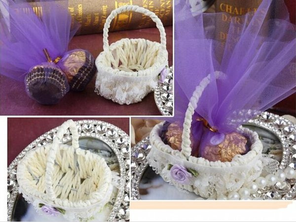 Upscale Lace Flower Side Bamboo Basket Design Yarn Wedding Candy Box Party Favor Chocolate Boxes 7 Color Available 100pcs/lot