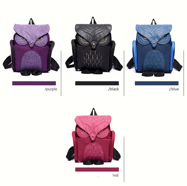 best selling 50pcs 2017 New Fashion Backpack Women Nylon The Owl Cartoon School Bags For Teenagers Girls Best Gift Outdoor