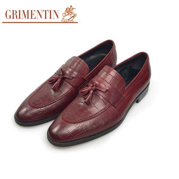 GRIMENTIN Men loafers Italian fashion designer crocodile grain mens dress shoes genuine leather slip-on tassel formal business male shoes